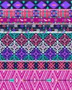 Tribal seamless aztec pattern with birds and flowers colorful arrows Stock Images