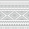 Tribal seamless aztec stroke black pattern on white vector folk ornament ethnic with goemetric elements Royalty Free Stock Photography