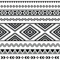 Tribal seamless pattern aztec black and white background vector ornament ethnic Royalty Free Stock Image