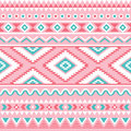 Tribal seamless pattern, Aztec pink and green background Royalty Free Stock Photo