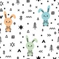 Tribal seamless pattern with cute hand drawn bunny. Childish texture for fabric or textile. Kids background
