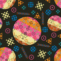 Tribal seamless pattern the illustration circles boom triangles rhombs Stock Images