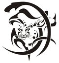 Tribal snow leopard head symbol Stock Image