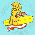Tribal surfer an illustration of a with a board wooden statue style big kahuna with a surfboard and a ribbon for your text blue Stock Image