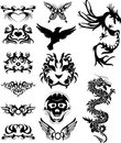 Tribal tatto with dragons Stock Photos