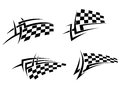 Tribal tattoo with racing flag tattoos set for sport design Stock Photo
