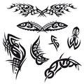 Tribal tattoo set black abstract and vector Royalty Free Stock Photos