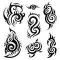 Tribal tattoo set polynesian pattern vector illustration Stock Images
