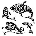 Tribal tattoo set polynesian pattern vector illustration Royalty Free Stock Images