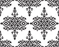Tribal vector black and white seamless pattern Royalty Free Stock Photo