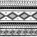 Tribal vector seamless pattern hand drawn abstract background isolated on white Stock Images