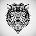 Tribal Wolf Head Tattoo Royalty Free Stock Photo