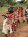 Tribal women link arms Royalty Free Stock Photography