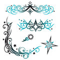 Tribals stars vector set colorful tribal with black and blue Stock Image