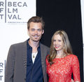Tribeca film festival new york ny april christopher backus and actress mira sorvino attend the mistaken for strangers premiere Stock Images