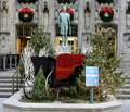 Tribune Tower Entrance Decorated for the Holidays Royalty Free Stock Photo