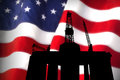 Tribute american offshore drilling to the industry with flag concept Stock Image
