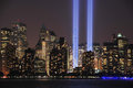 Tribute in light close up art display manhattan at night on september Stock Photos