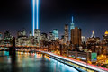 Tribute in light memorial on september new york Royalty Free Stock Photo