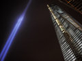 Tribute in light and one world trade center art display next to the building the wtc complex manhattan at night on september Royalty Free Stock Photography