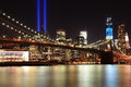 Tribute in lights with freedom tower and brooklyn bridge taken from park taken on september at night Royalty Free Stock Images