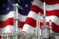 Tribute to the american refining industry with flag concept Royalty Free Stock Photography