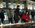 Tributes being laid out after the Paris attacks Paris attacks af Royalty Free Stock Photo
