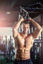 Triceps overhead extension rope Royalty Free Stock Photo