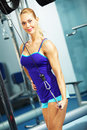 Triceps workout image of fitness woman in gym working out Royalty Free Stock Photo