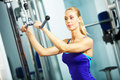 Triceps workout image of fitness woman in gym working out Royalty Free Stock Photography