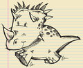 Triceratops Dinosaur Doodle Sketch Royalty Free Stock Image