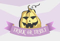 Trick or treat halloween cartoon style image. Comic pumpkin with ribbon. Vector illustration for banner, poster, invitation card,