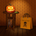 Trick or treat halloween a illustration spooky pumpkin with sweets on a wooden round old table with a spider web and a Royalty Free Stock Images