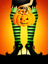 Trick or treat of halloween illustration witch with striped stockings Stock Photography