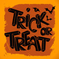 Trick or treat hand lettering halloween illustration with Stock Photo