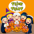 Trick or treat kids five saying with halloween pumpkin bags full of sweets and candy Stock Photos