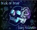 Trick or treat, Neon skull and rose