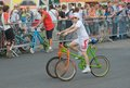 Tricycle russia moscow july unidentified cyclists ride on homemade bicycles provided to the public on the sports festival moscow Stock Image