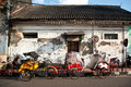 Tricycles on the street side bechaks yogyakarta Stock Images
