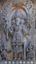 Tridev lord bramha vishnu mahesha a wall sclupture on halebidu temple Stock Photos