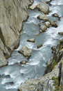 Trift river view from rope suspension bridge over swiss alps Royalty Free Stock Photo