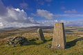 Trig point on the Arenig mountains Royalty Free Stock Photo
