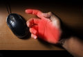 Trigger finger or carpal tunnel syndrome pain from use computer mouse Royalty Free Stock Image