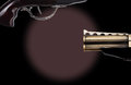 Trigger that is on a revolver of vintage black background with copy space conceptual image for pulling the or initiating action Royalty Free Stock Image