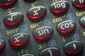 Trigonometry calc push buttons of scientific calculator with focus on sin button Stock Photos
