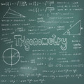 Trigonometry law theory and mathematical formula equation doodl doodle handwriting icon in blackboard background with hand drawn Stock Image