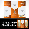 Tril fold jewelry shop brochure vector illustration Stock Photo