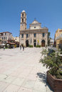 Trimartiri ortodox cathedral chania the and the patriarchou athinagora square in crete greece europe Royalty Free Stock Images