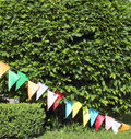 Trimmed bushes round and square shapes with festive flags Stock Photo