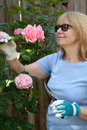 Trimming roses woman in her garden and enjoy it Stock Photo